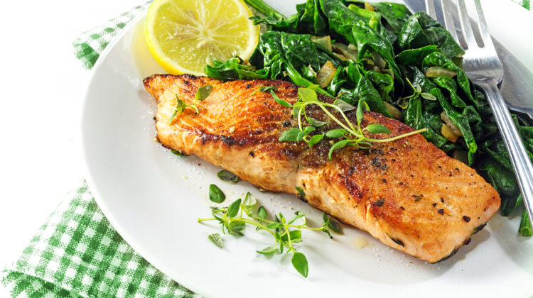 Grilled Salmon With Thyme, Lemon And Spinach,